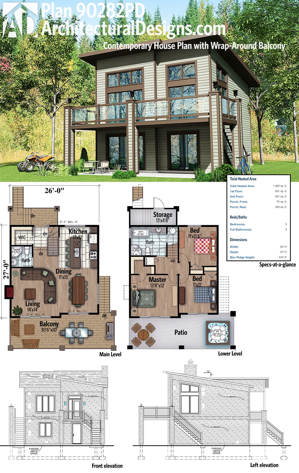 Plan 90282pd Contemporary House Plan With Wrap Around Balcony Contemporary House Plans Contemporary House House Plans