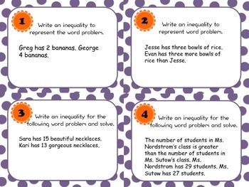 Inequality Word Problem Task Cards Inequality Word Problems Word Problems Task Cards Word Problems
