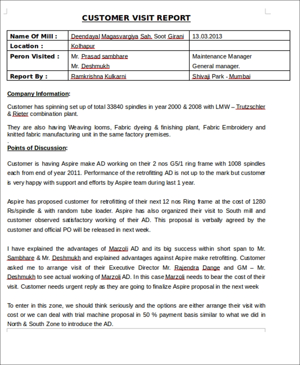 Customer Visit Report Format Template 5 Professional Templates Sample Dissertation Premise