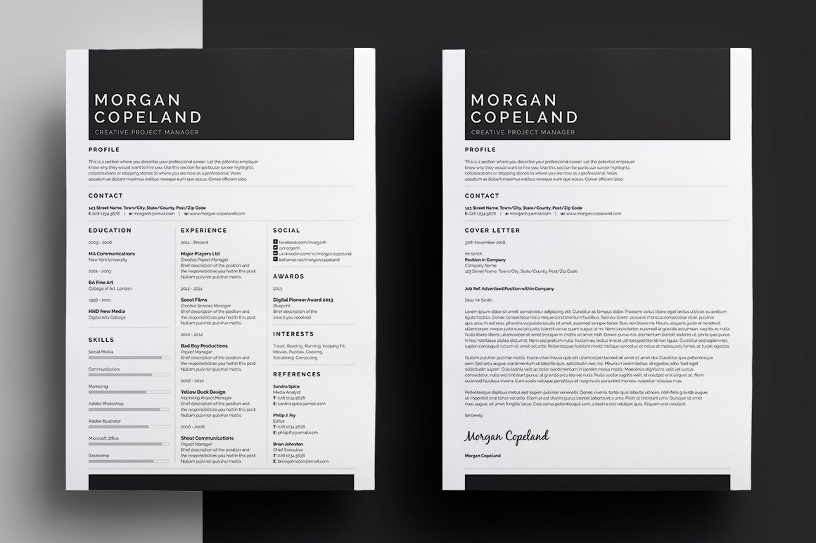 Resume/CV Cover letter & Business card. Jobseekers pack. Easy edit ...