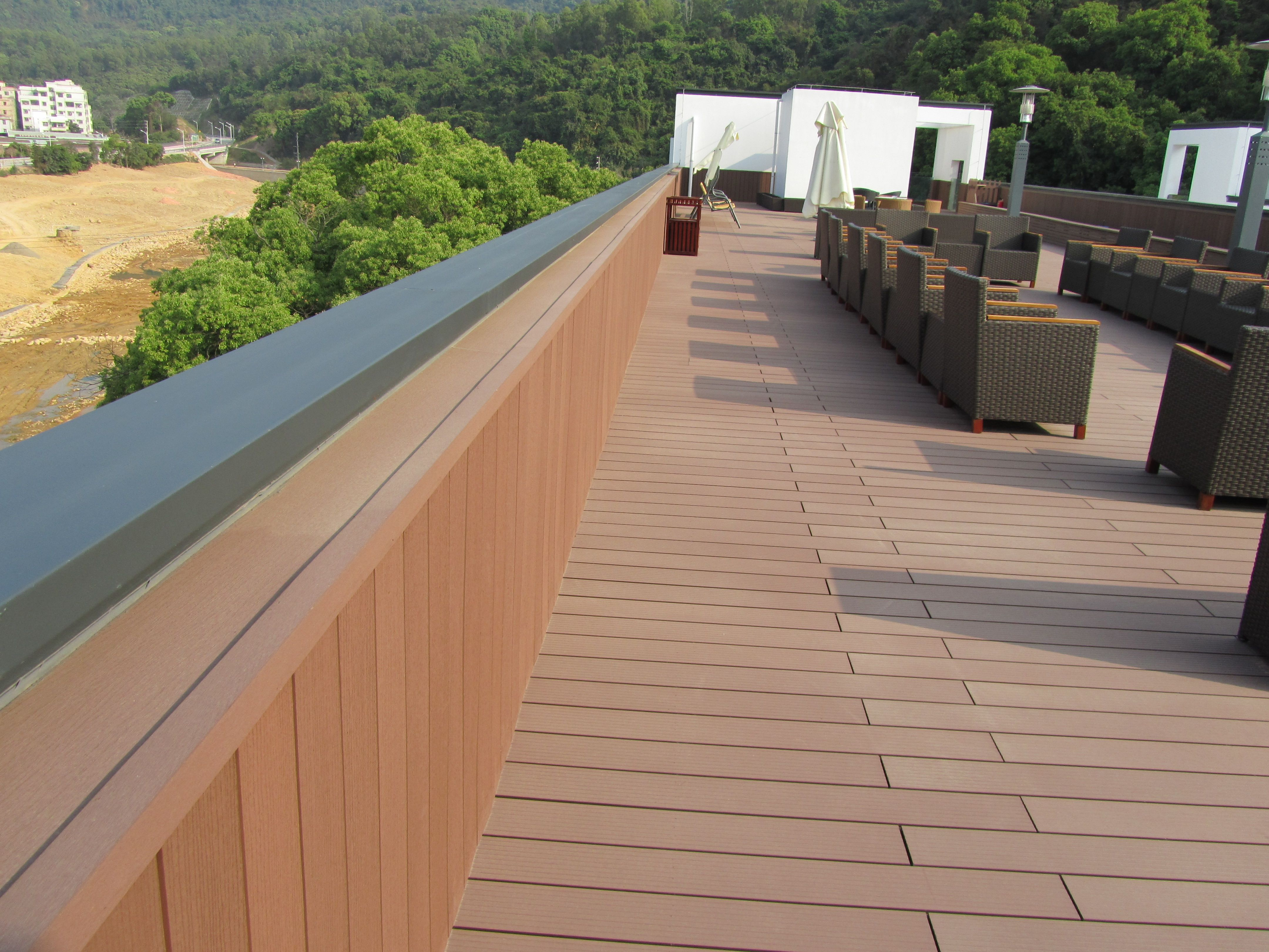 Balcony terrace wood plastic composiet wpc decking for Cheap decking boards uk