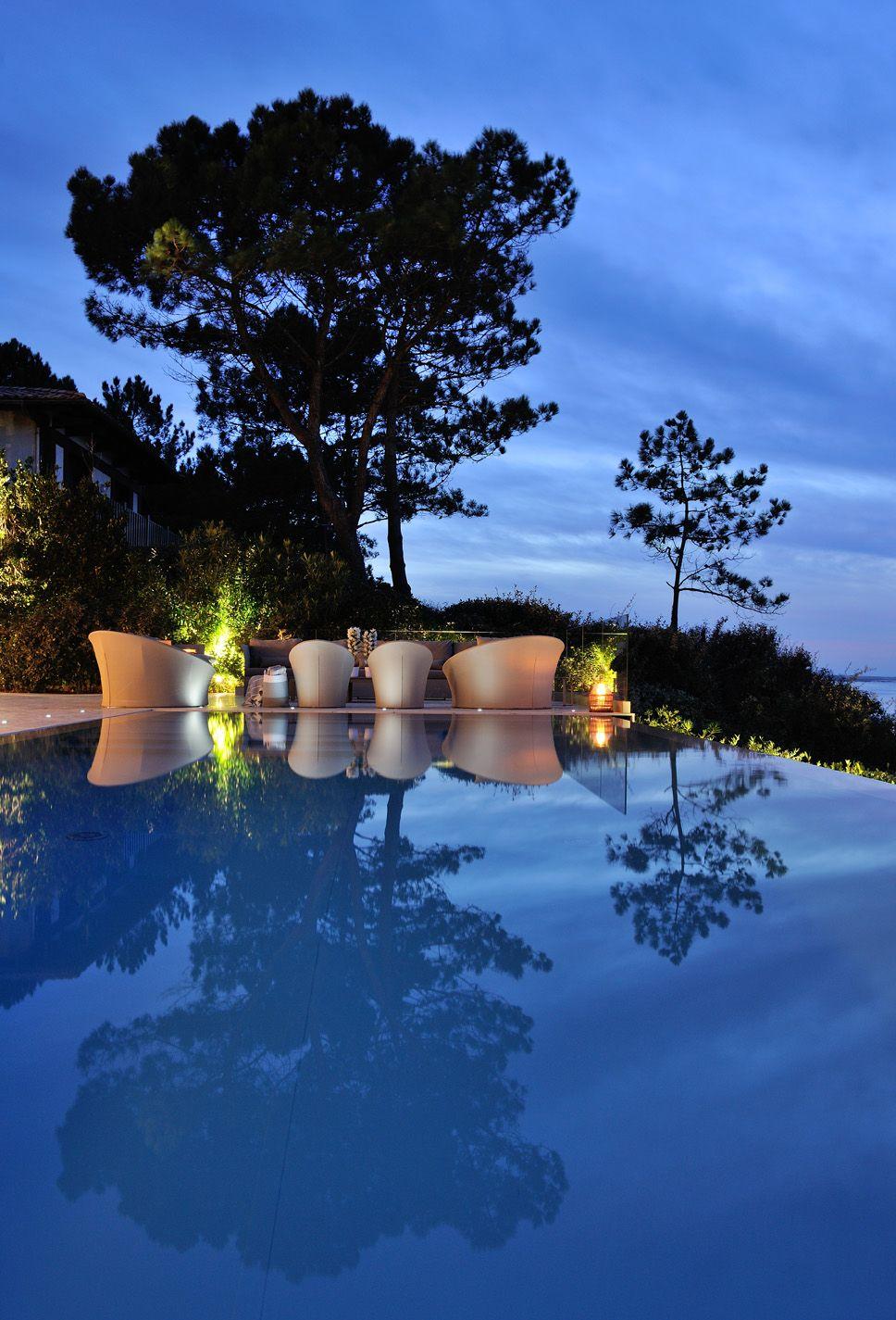 swimmig pool luxury house piscine miroir dbordement dune du pilat bassin