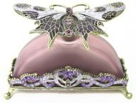 Purple Arched Perfume Bottle with Jeweled Butterfly