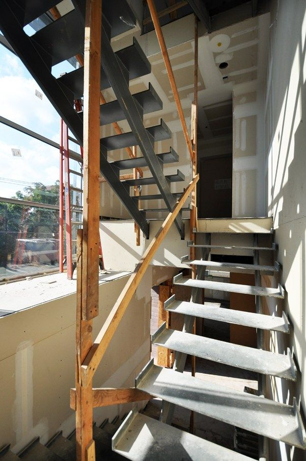 Modern Steel Stairs   Temporary Handrails