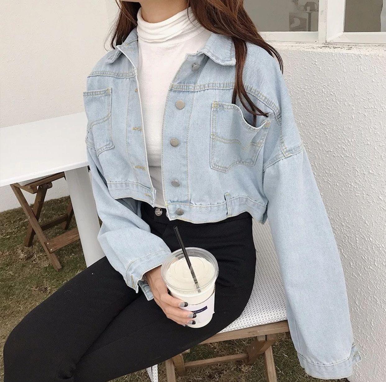 Cropped denim jacket  Korean outfit street styles, Fashion, Clothes