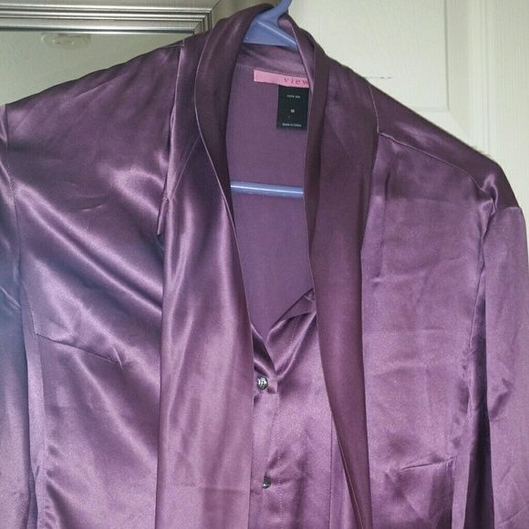 Silk blouse Beautiful plum colored silk blouse, has a built in tie decor for making a pretty bow! Worn only once, dry clean only,  it's 100% silk. Victoria's Secret Tops Blouses