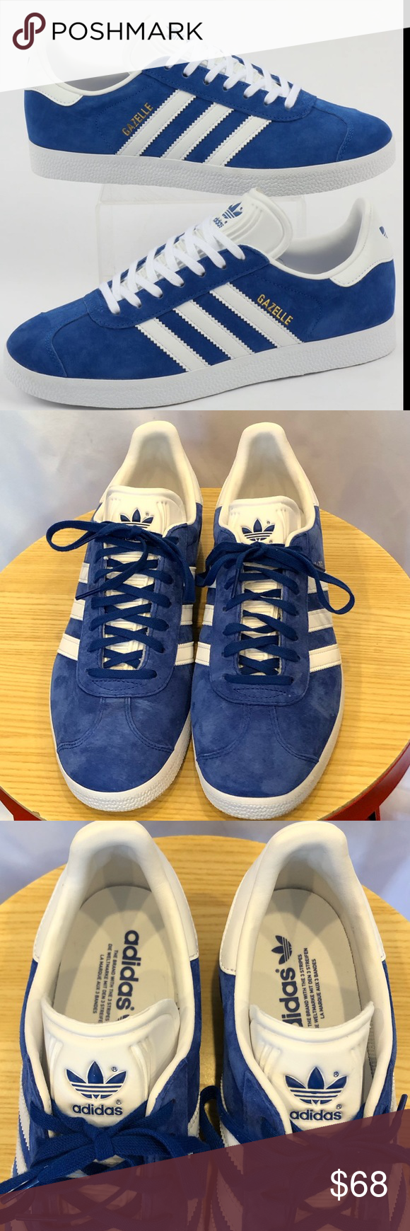 Adidas Gazelle blue suede white stripes men's 10.5 in 2020