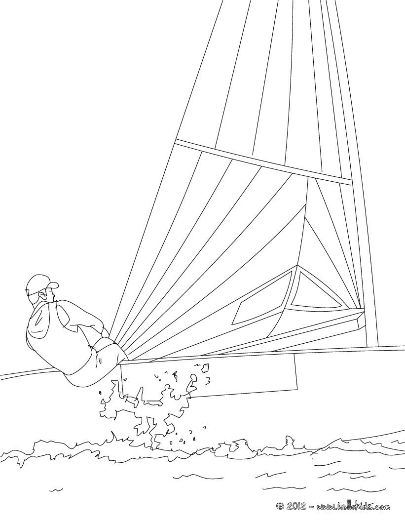 Sailing Race coloring page in water sports coloring pages