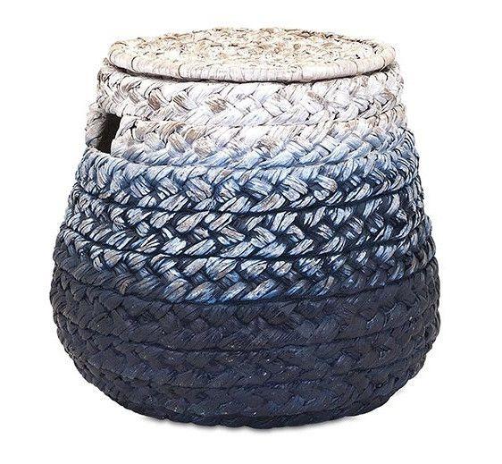 Blue Bulb Lidded Storage Basket