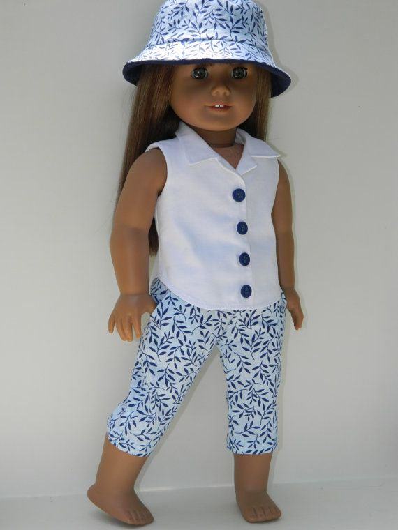 American Girl Doll Clothes - Three Piece Outfit - White button down sleeveless Shirt, Blue cotton print Capris and coordinating Bucket Hat