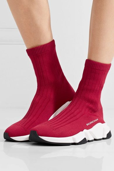 74375b4d419 BALENCIAGA Speed red stretch-knit high-top sneakers in 2019 ...