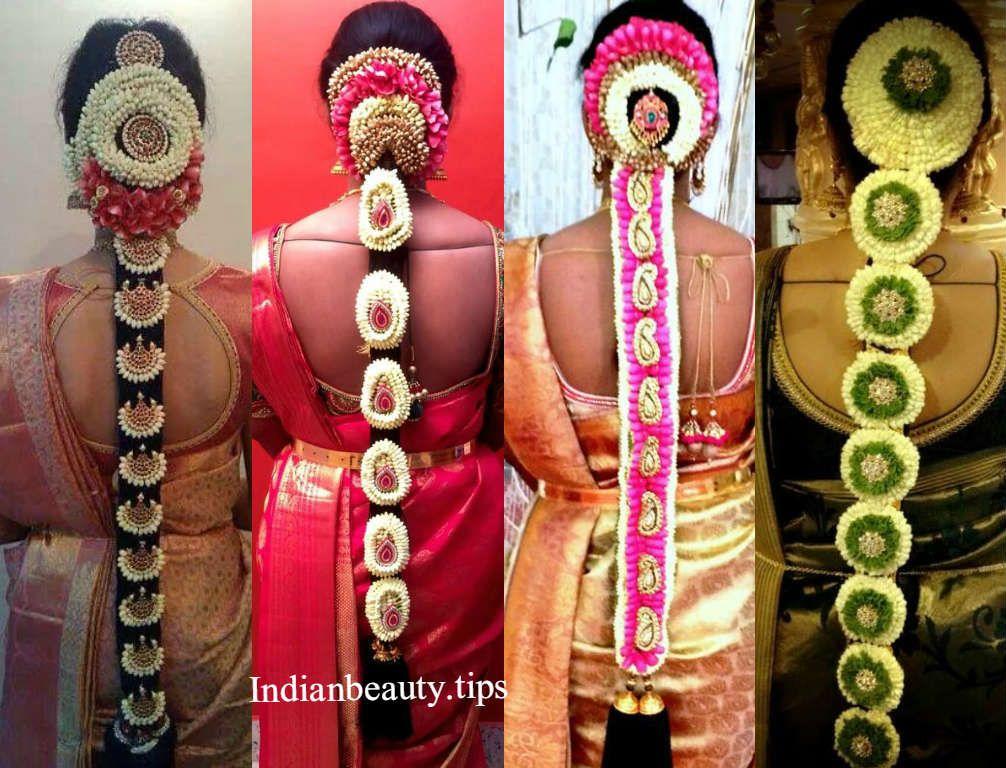 South Indian Wedding Hairstyles Bridal With Flowers Pelli Poola Jadalu Marriage