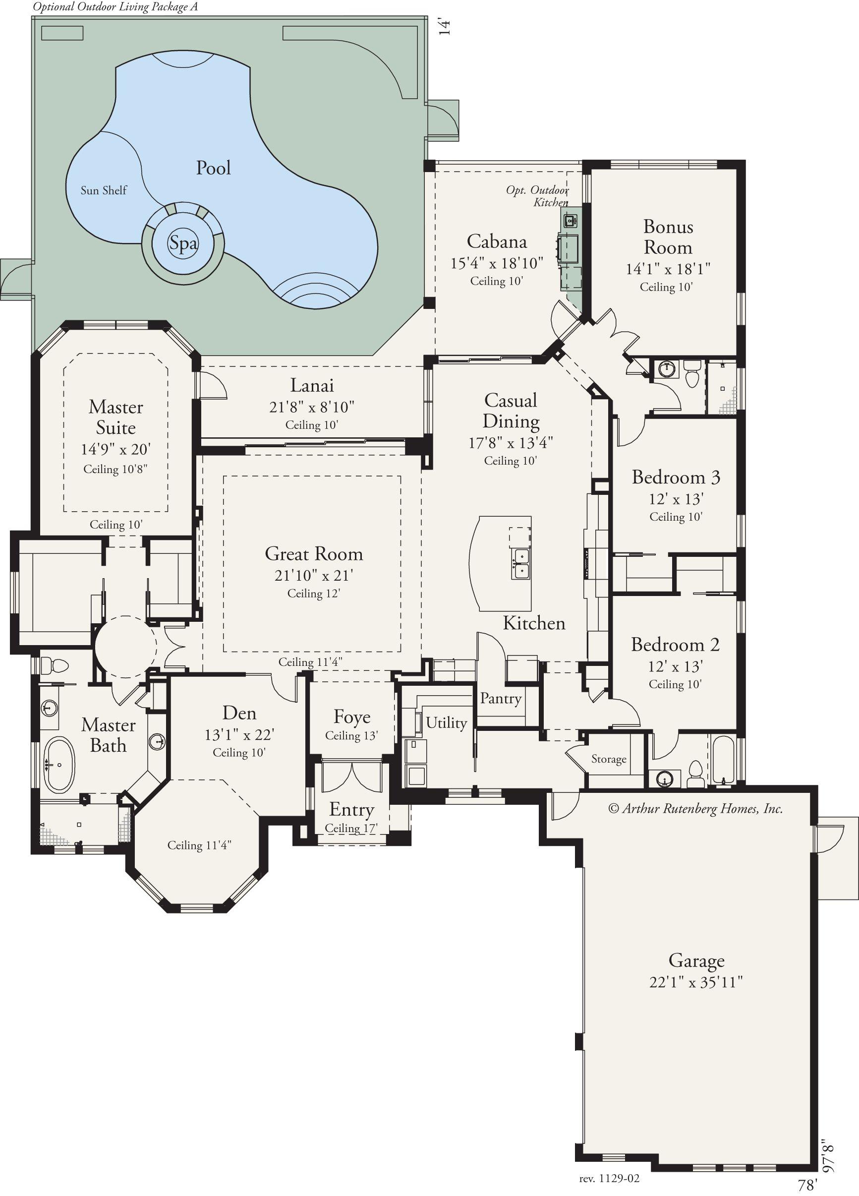 This custom 3 bed 3 bath home features an open floor plan for Gourmet kitchen floor plans