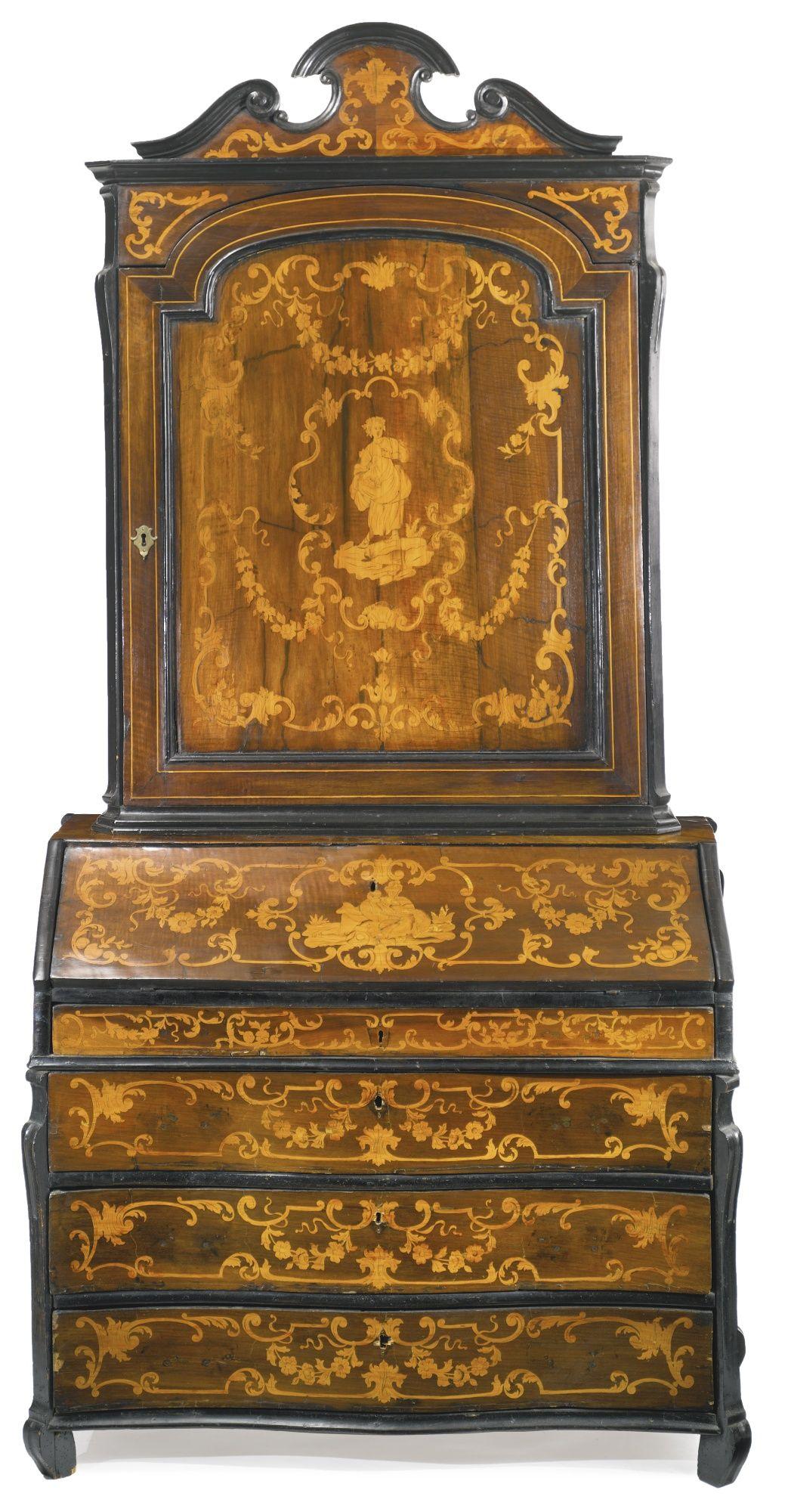 An Italian Rococo Walnut And Fruitwood Marquetry Bureau Cabinet Mid 18th  Century