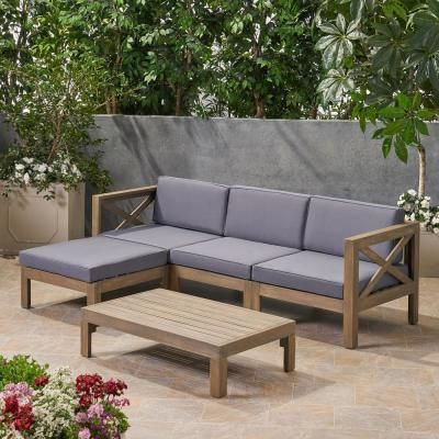 Noble House Alcove Grey 5 Piece Acacia Wood Patio Conversation Sectional Seating Set With Dark Grey Cushions 65595 The Home Depot In 2020 Wood Patio Furniture Patio Sectional Diy Patio Couch