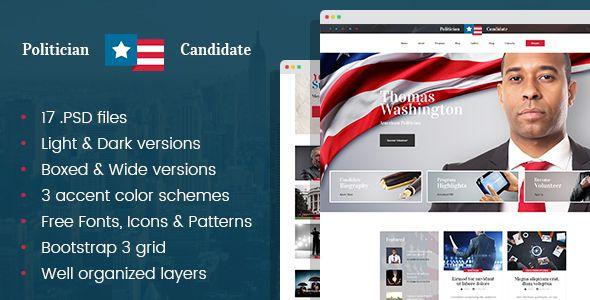 Political Candidate - Politician PSD template  Political - ngo templates