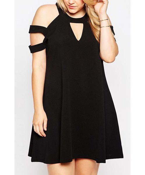 Fashionable Round Collar Solid Color Plus Size Short Sleeve Dress For Women Plus Size