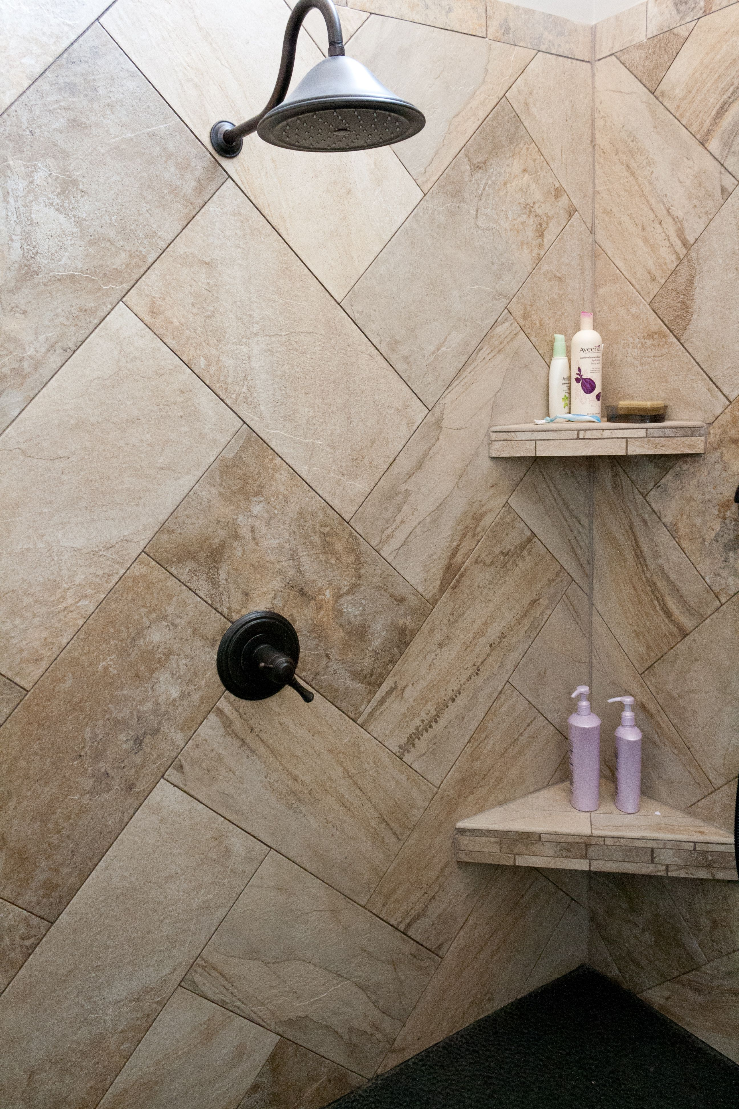 Love the tile placement. Porcelain tile. (But in gray) Epoxy grout ...