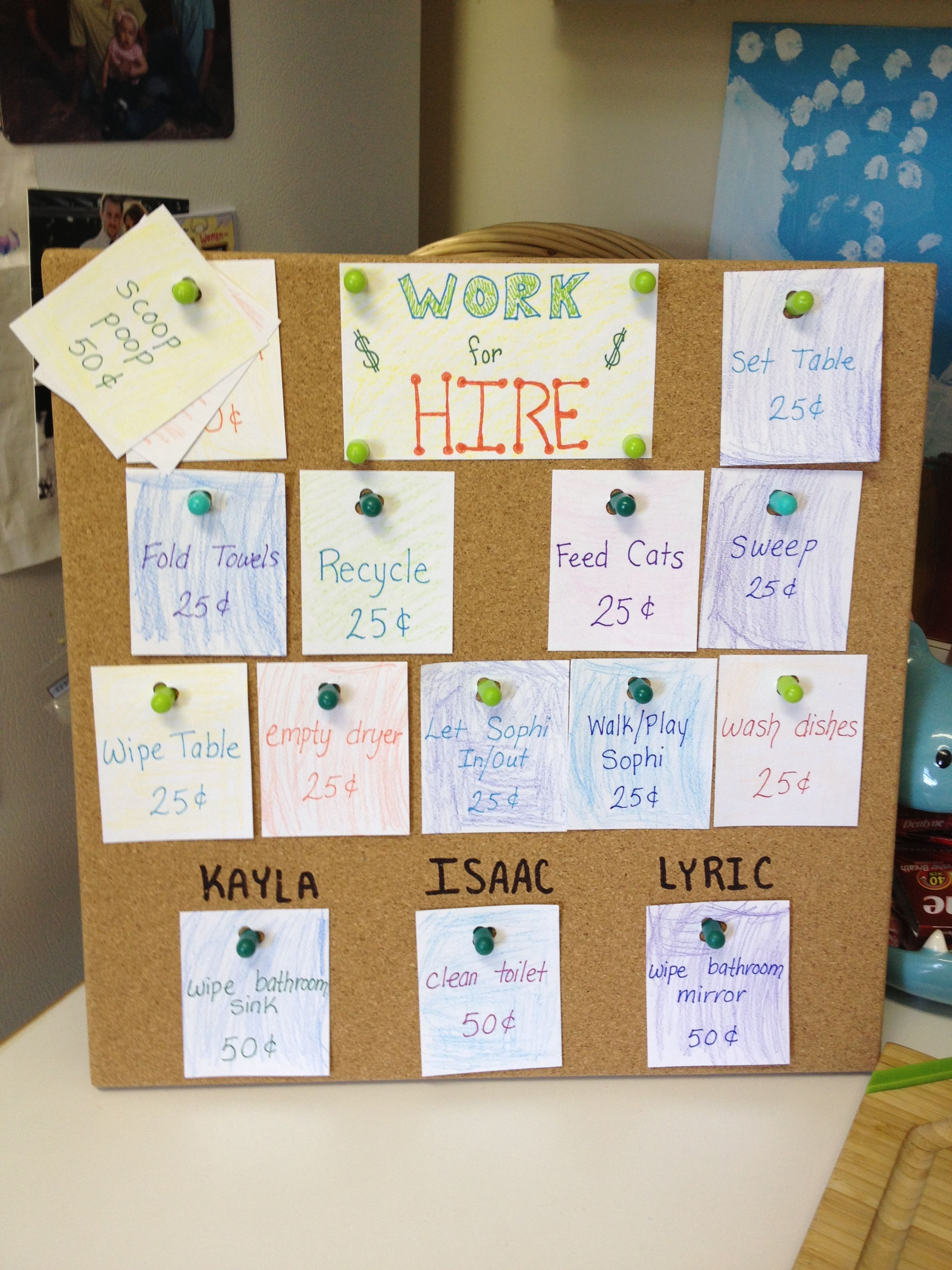 Cork Board Chore Chart Punch Holes In Chore Cards And
