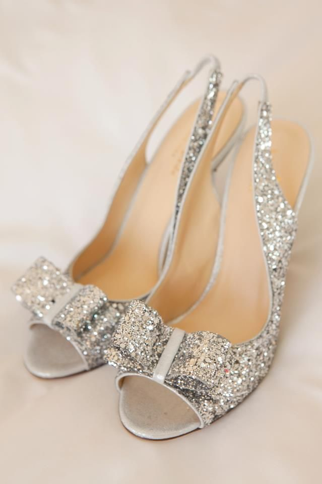 a74d6b2d5faf40 Silver sparkle Kate Spade wedding shoes  silver  sparkle