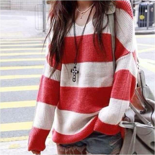 Red and White Striped Knit Sweater. Teen Fashion. By ...