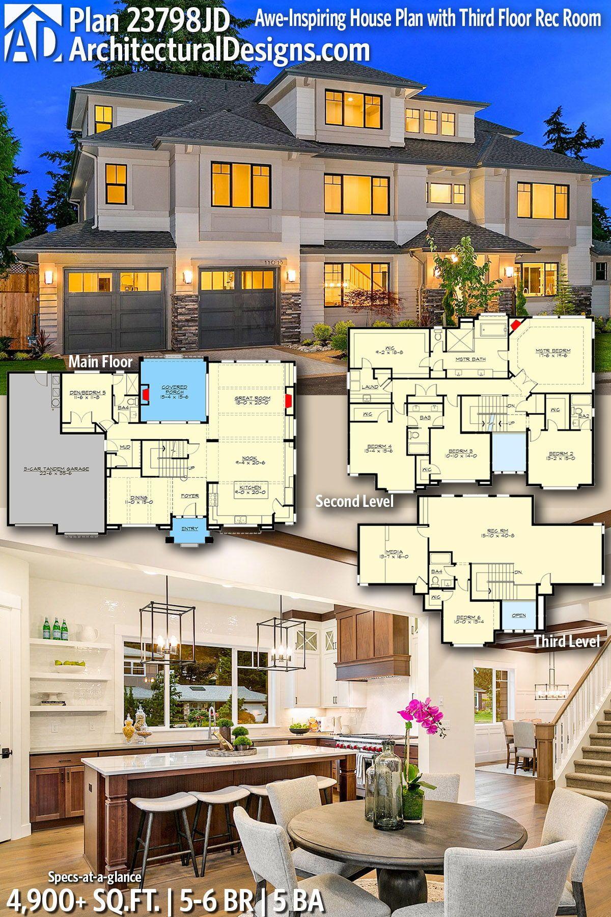 Plan 23798jd Awe Inspiring House Plan With Third Floor Rec Room House Plans Modern House Plans House Blueprints