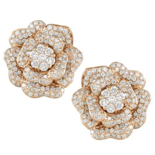 Diamond Rose Shaped Earrings In 14k Yellow Gold