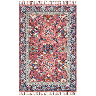 Hand Hooked Pink Blue Fl Wool Area Rug With Fringe 9