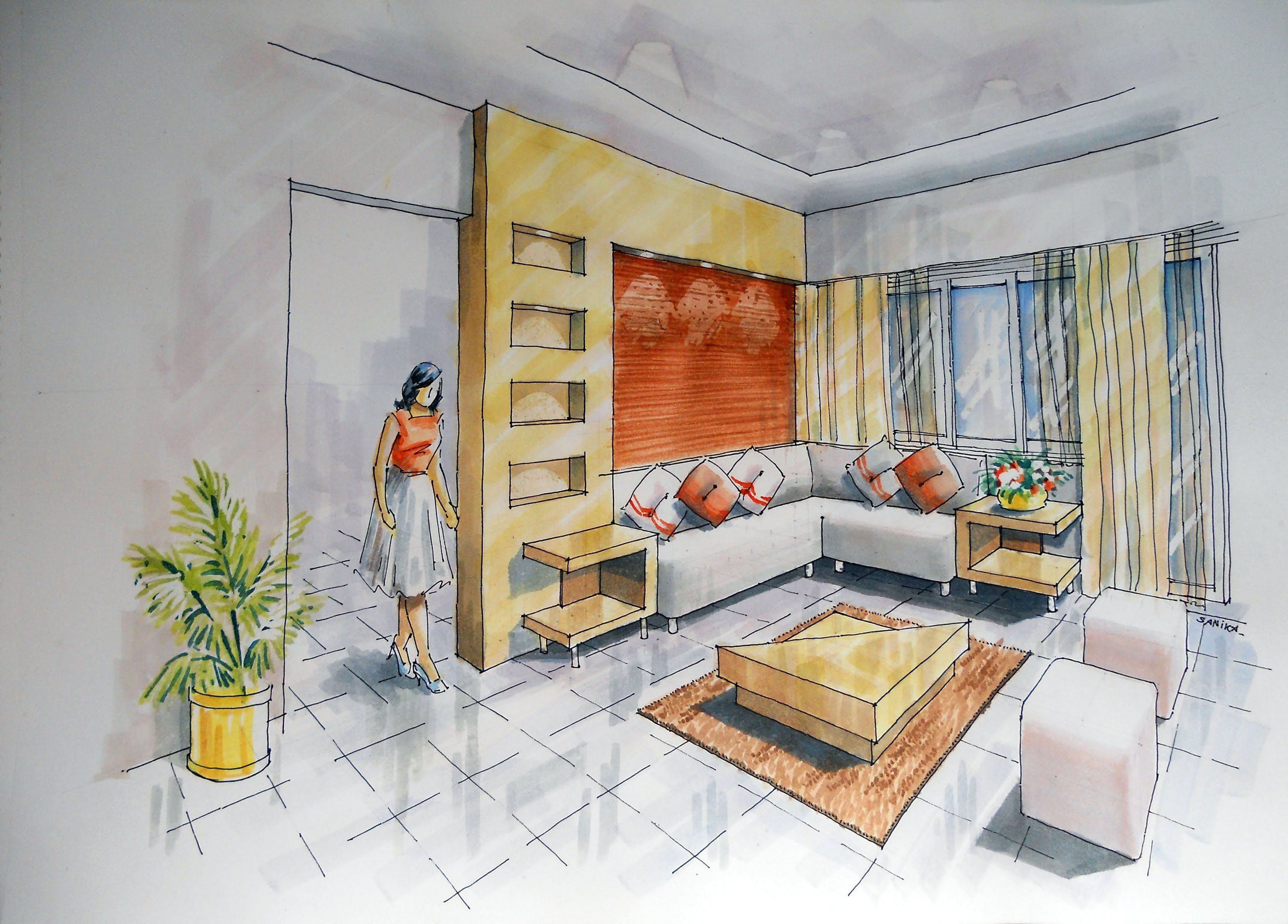 2 Point Interior Design Perspective Drawing Manual Rendering How To Tuto.