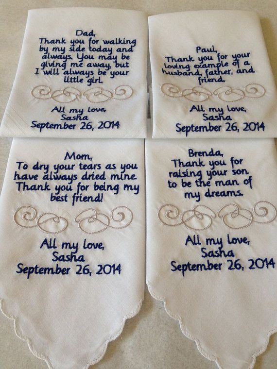 Personalized Handkerchief Hankie Gift From Bride Set Of Four 4