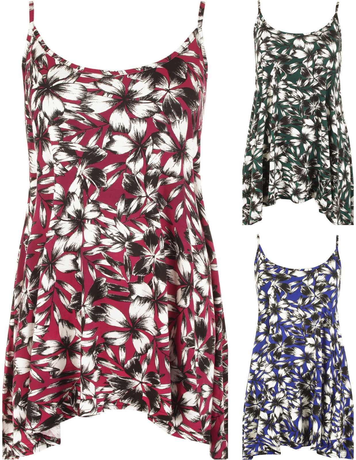 28ebeaed4833 Details about WOMENS PRINTED SWING VEST STRAPPY SLEEVELESS LADIES ...