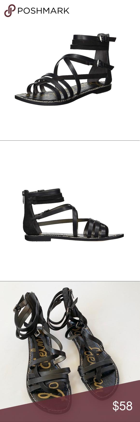 c3ccf543fd63 NWT Sam Edelman Ganesa Black Leather Sandal 8.5 Sam Edelman gladiator  inspired stewpot black leather sandal