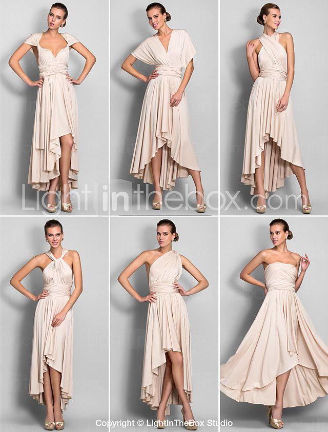 A-Line V Neck Asymmetrical Chiffon Jersey Bridesmaid Dress with Sash ...