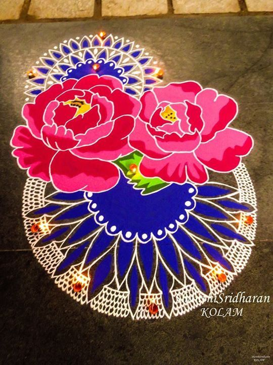 Rose Pink Blue Kolam Mandala Pongal Festival Saved By Shanthi Sridharan Small Rangoli Design Rangoli Designs Easy Rangoli Designs