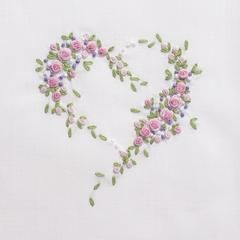 Scatter Flower Heart<br>Towel - White Cotton