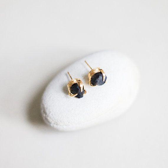 Stud Earrings With Raw Black Onyx by alohagaia