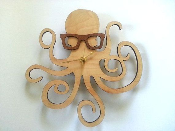 @Victoria Brown Song Octopus with Glasses Clock  Handmade  Laser Cut by UnpossibleCuts, $44.95