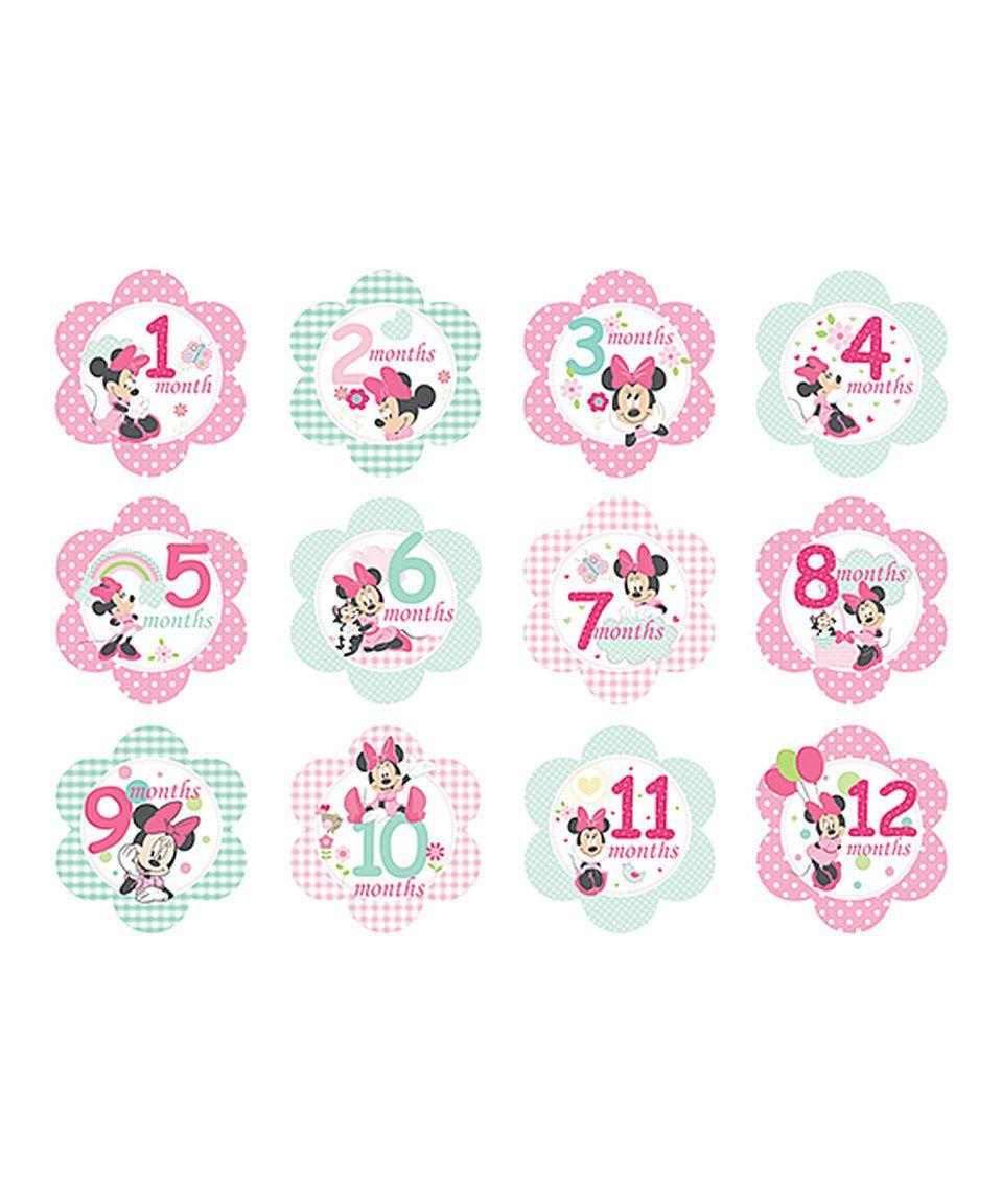 492707c48 Look at this #zulilyfind! Minnie Mouse Milestone Sticker Set by ...