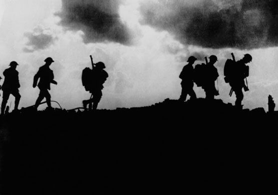 British troops march towards trenches on the western front