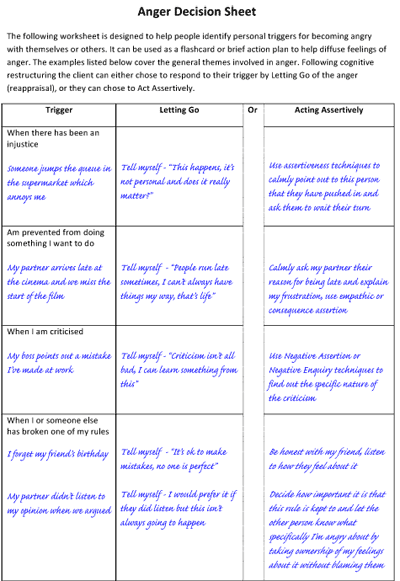 Anger Decision Sheet  Letting Go And Acting Assertively