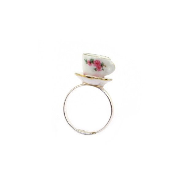 Charming Teacup Ring - Hannah Zakari (€33) ❤ liked on Polyvore featuring jewelry, rings, accessories, fillers, charm jewelry and charm rings
