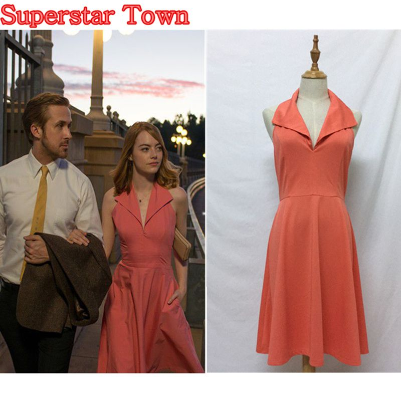 db1a32817507 La La land Mia Pink Dress Cosplay Costume Emma Stone Party Backless Women  Dress Superstar Town