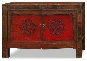 Hand Painted Elmwood Mongolian Cabinet Asian Furniture China And Arts