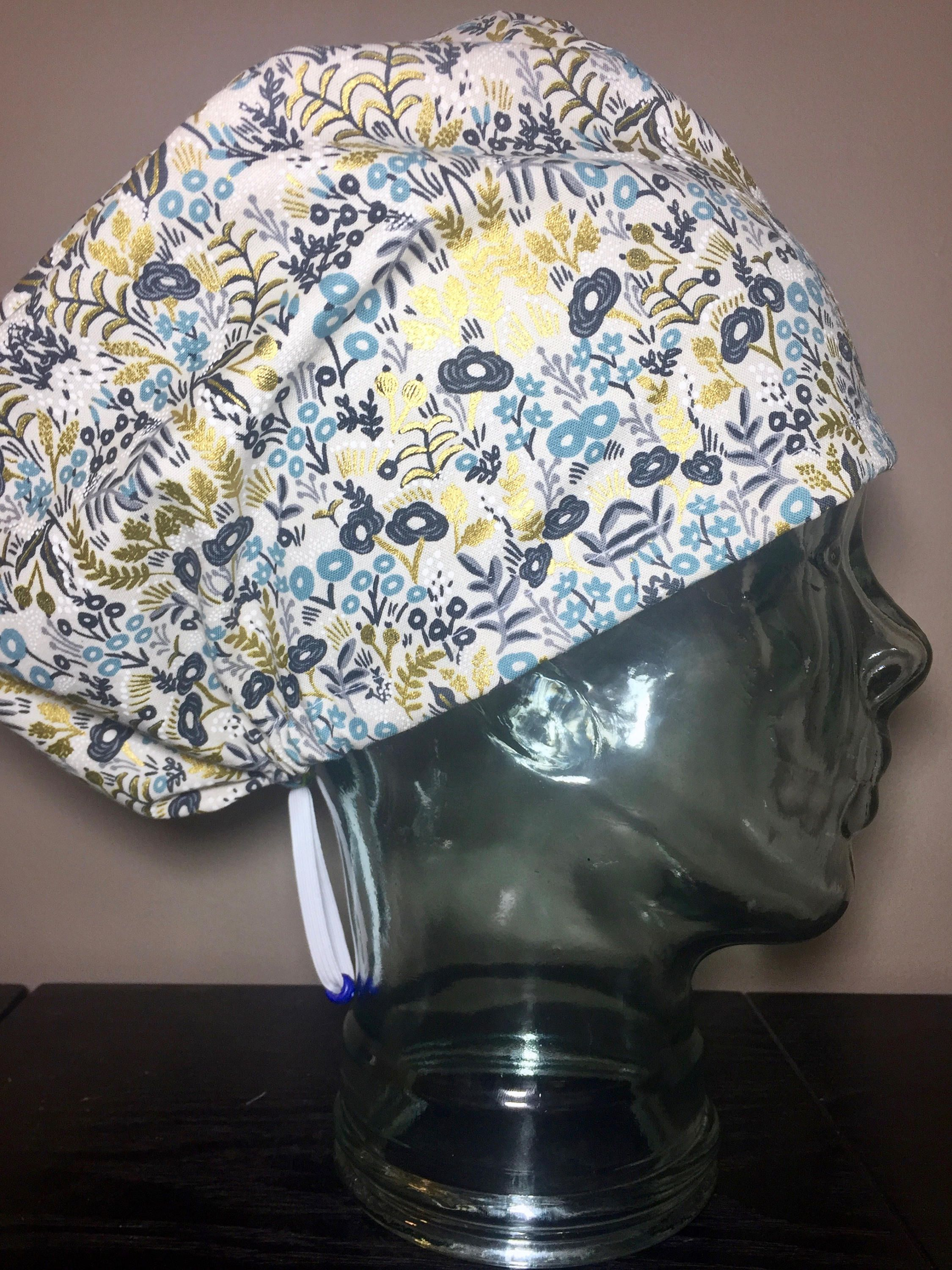 Blue   Navy Foliage with Metallic Gold on Cram Surgical Scrub Hats ... 999704a61f79