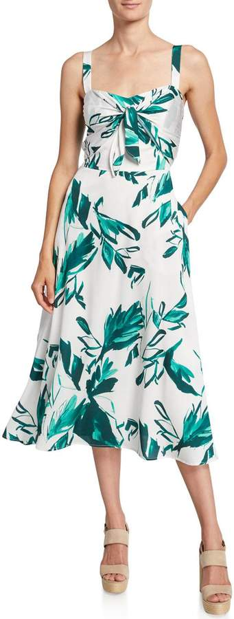Photo of Julia Jordan Leaf Print Tie-Front Midi Dress