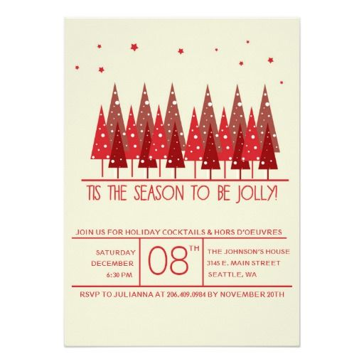 Red Christmas Trees Holiday/Christmas Party Invite Christmas card