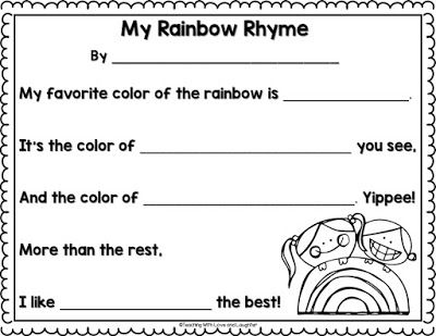 FREE Rainbow Rhyme Writing Template St Patricku0027s Day \/ March - rainbow template