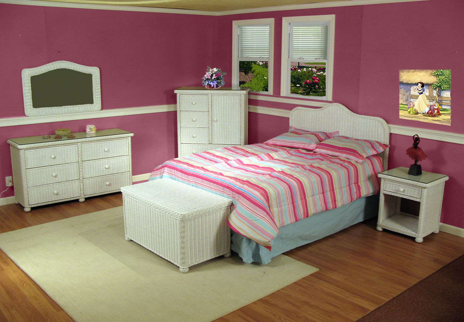 Bedroom Wicker Furniture Elana Classic Bedroom Set White Wicker