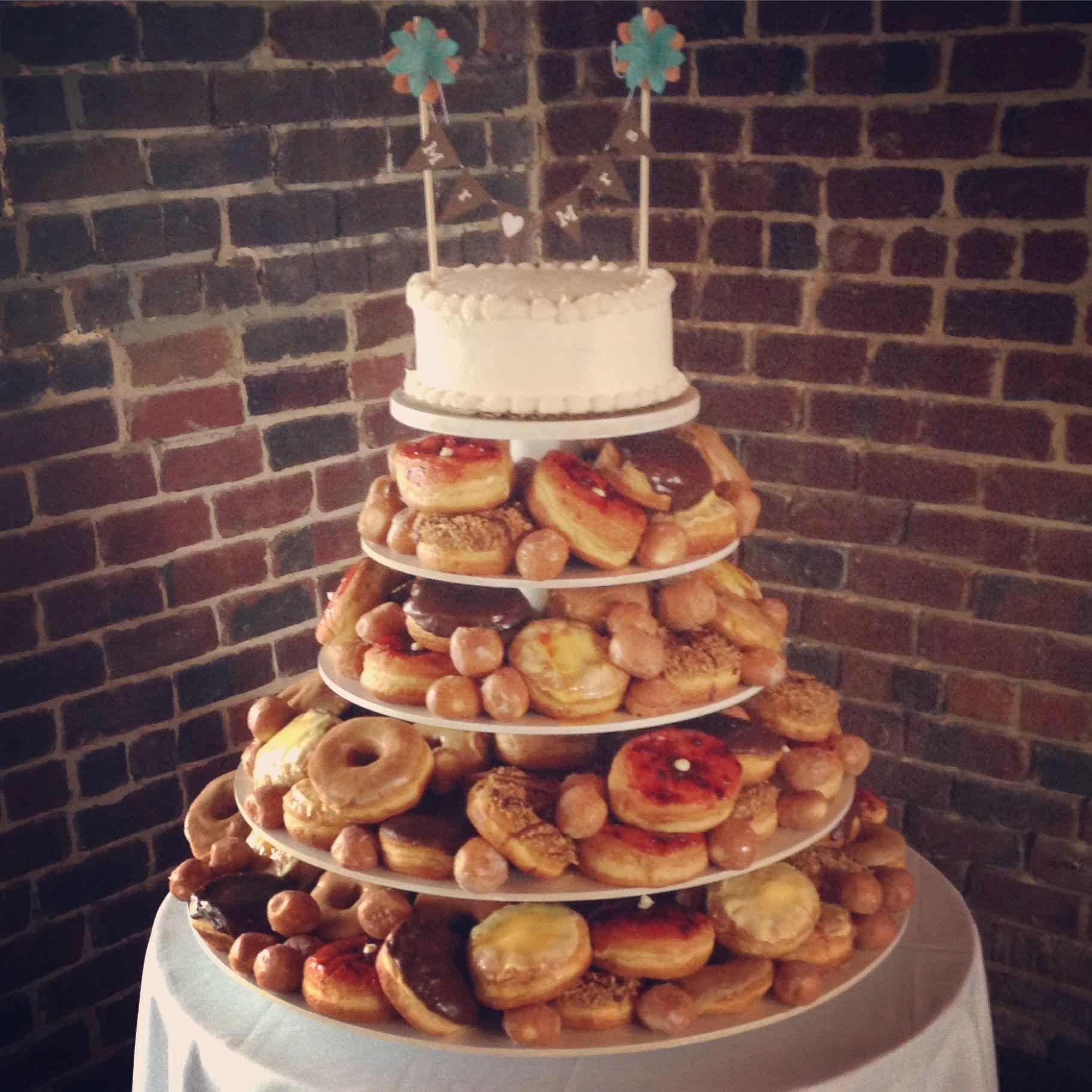 Donut wedding cake from Wake N Bake Donuts in Carolina Beach NC www