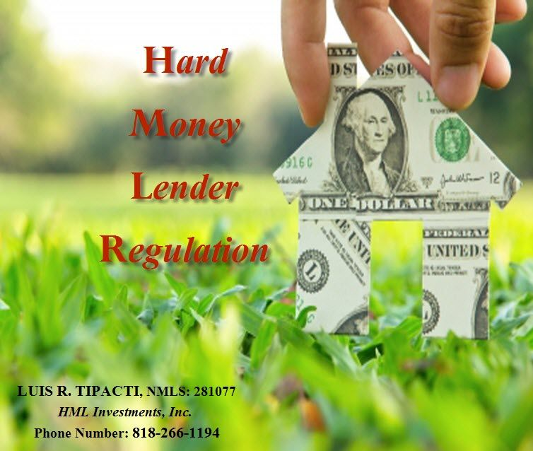 #Hard Money Lender Regulation: Several states' usury laws, including Tennessee and New Jersey, prevent hard money lenders from charging higher interest rates. Regulation of hard money not only differs by state, it differs by the type of the borrower: business borrower or consumer borrower. Consumers (or owner occupants) generally have additional protections in individual states and also under the Dodd-Frank Act. For more details,contact Luis R. Tipacti, at 818-266-1194 today!